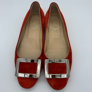 Roger Vivier suede leather buckle flats